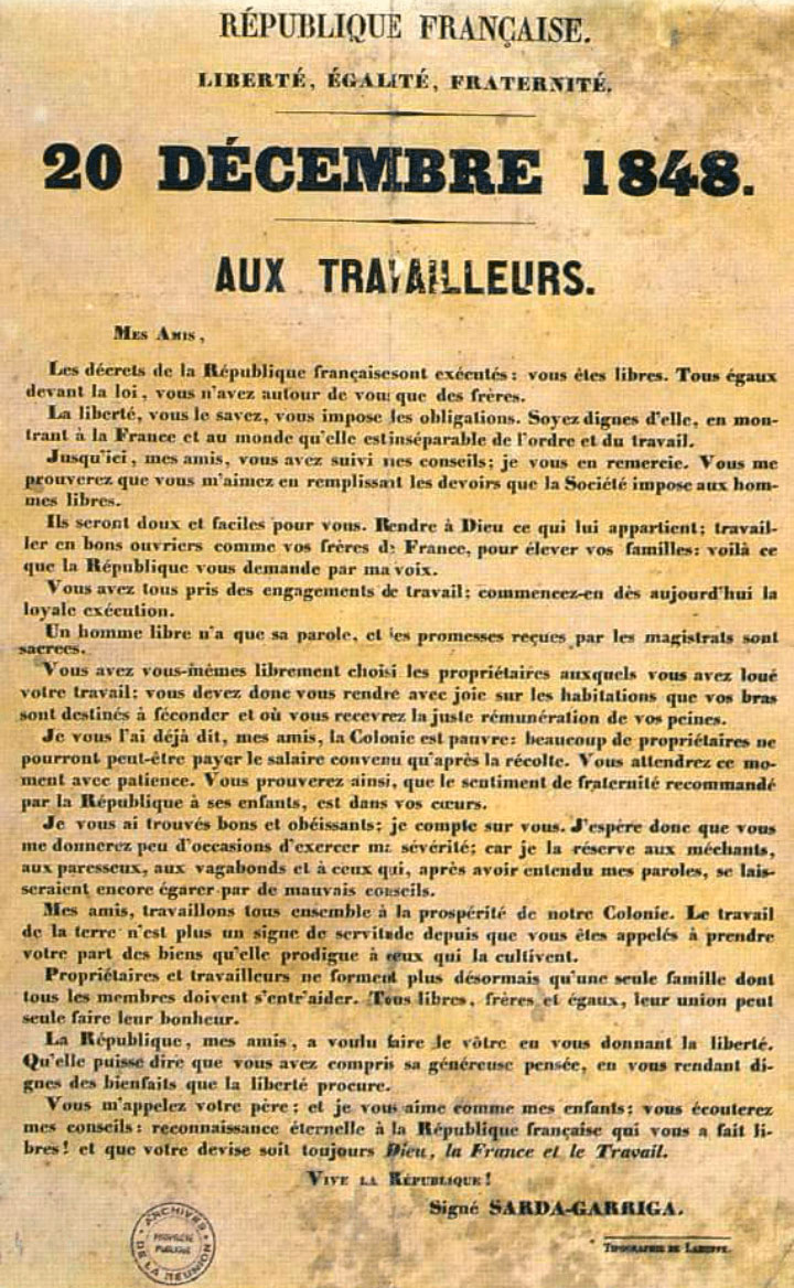 Text of the abolition of slavery in Réunion by Sarda Garriga in 1848